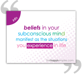 Beliefs in your subconscious mind manifest as the situations you experience in life