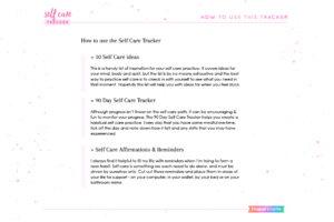 Self Care Tracker contents